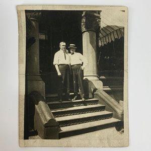 Other - Vintage 20s/30s Photo of Men Skimmer Hat Building